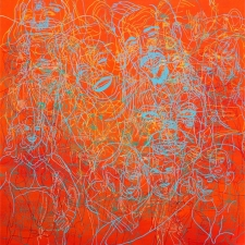 Orange Tangle, 40 x 40 inches